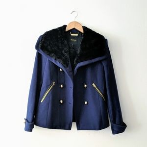 Juicy Couture Navy Wool Military Pea Coat